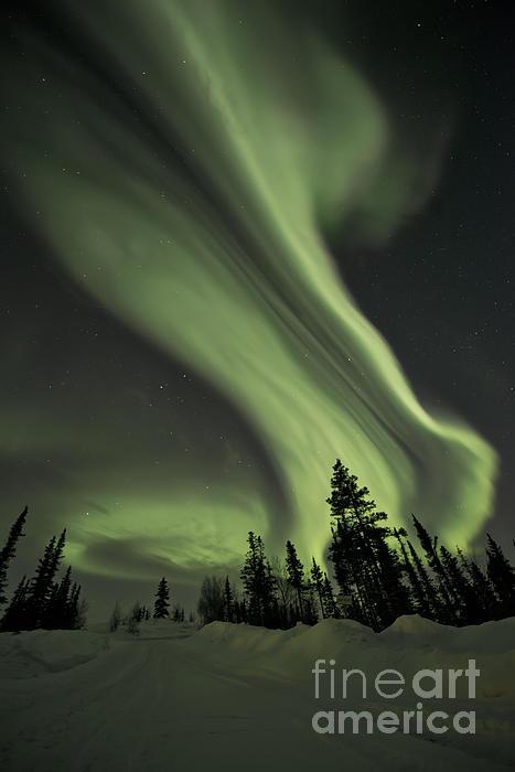 Light Swirls Over The Midnight Dome Print by Priska Wettstein