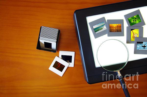 Lightbox With Slides Print by Carlos Caetano