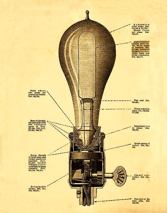 Lightbulb Patent Print by Digital Reproductions