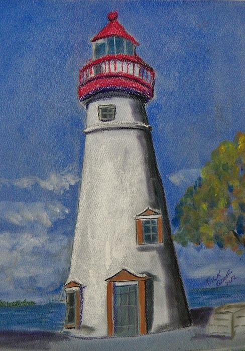 Lighthouse At Marblehead Print by Richard Goohs