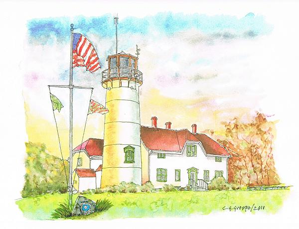 Lighthouse In Cape Code - Massachussetts Print by Carlos G Groppa