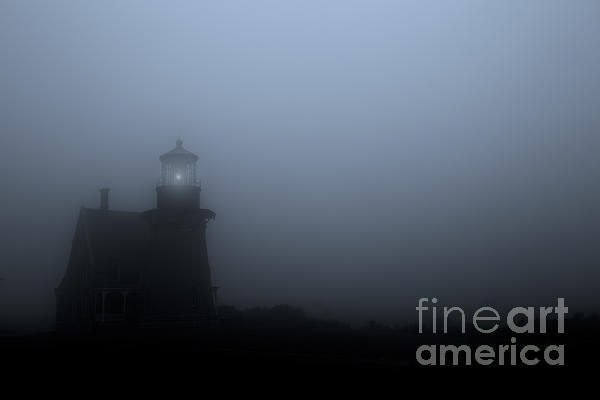Lighthouse In Fog Print by Diane Diederich