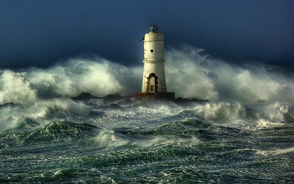 Lighthouse In The Storm Print by Sanely Great