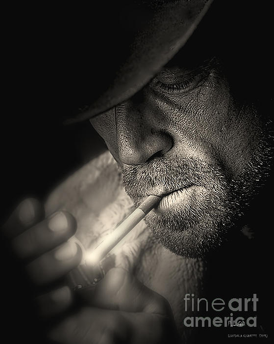 Lighting A Cigarette Print by Pedro L Gili