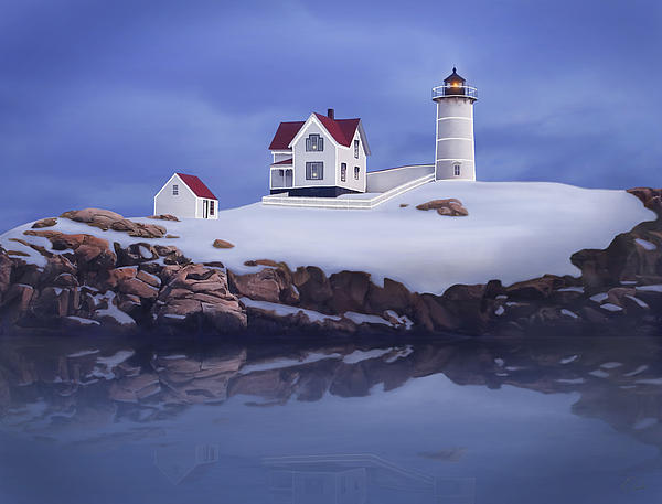 Lighting Of The Nubble Lighthouse Print by James Charles