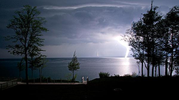 Lightning On Lake Michigan At Night Print by Mary Lee Dereske