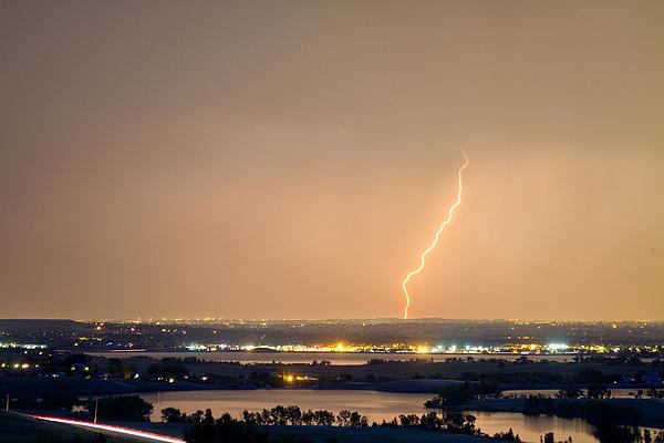 Lightning Striking Over Coot Lake And Boulder Reservoir Print by James BO  Insogna