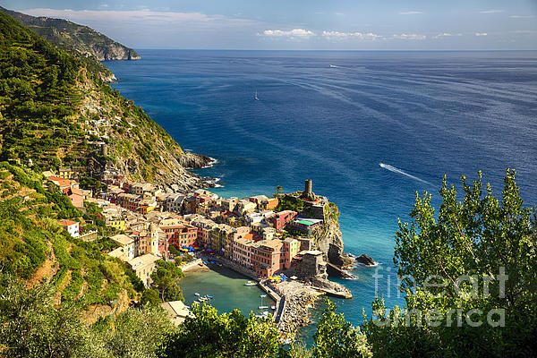 Ligurian Coast View At Vernazza Print by George Oze