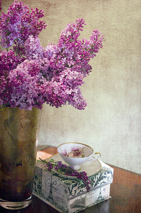 Lilacs In Vase 3 Print by Rebecca Cozart