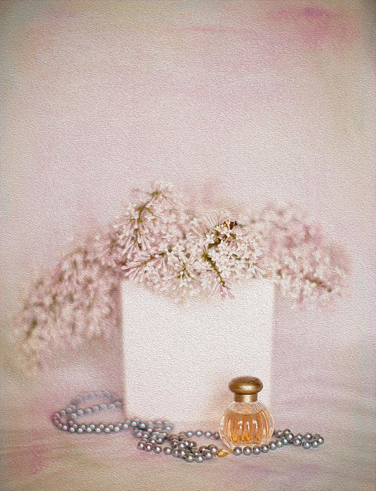Lilacs Pearls And Perfume Print by Rebecca Cozart