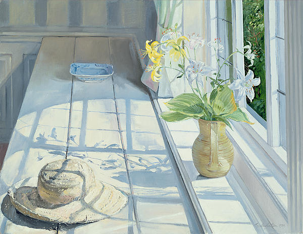 Lilies And A Straw Hat Print by Timothy Easton