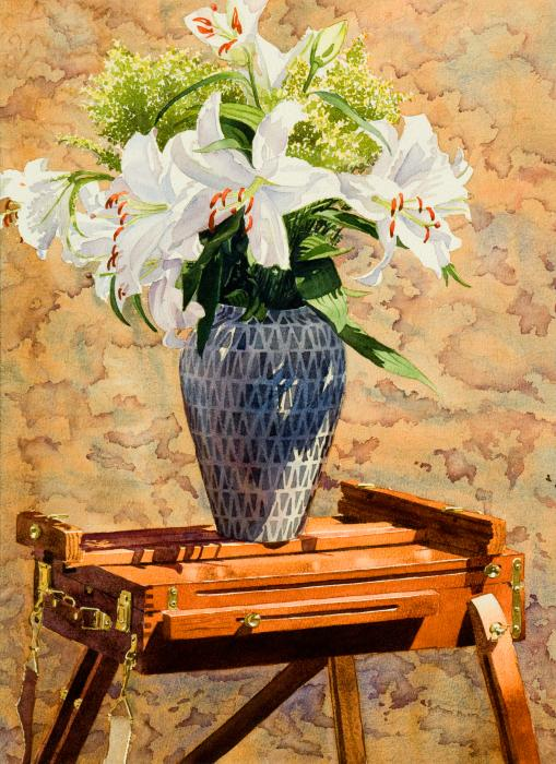 Lilies On An Easel Print by Mary Helmreich