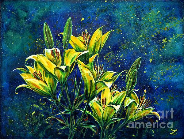Lilies Print by Zaira Dzhaubaeva
