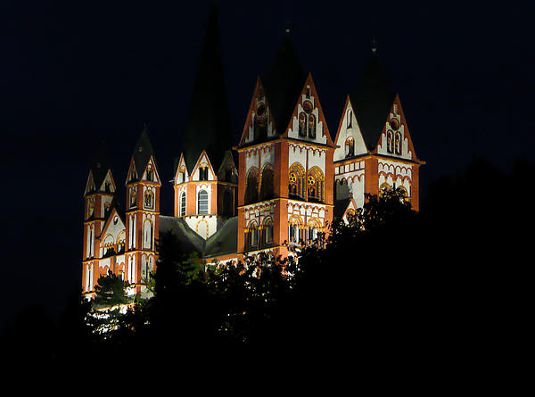 Limburg Cathedral At Night Print by Jenny Setchell
