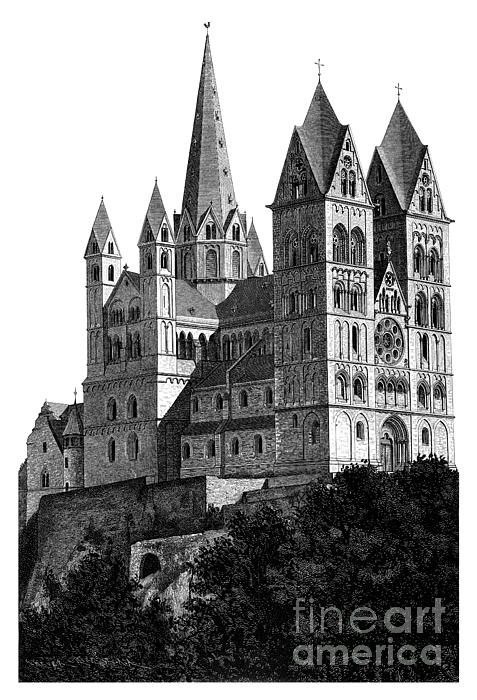 Limburg Cathedral Beautiful Detailed Woodblock Print Print by Christos Georghiou