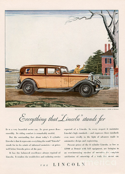 Lincoln 1932 1930s Usa Cc Cars Print by The Advertising Archives