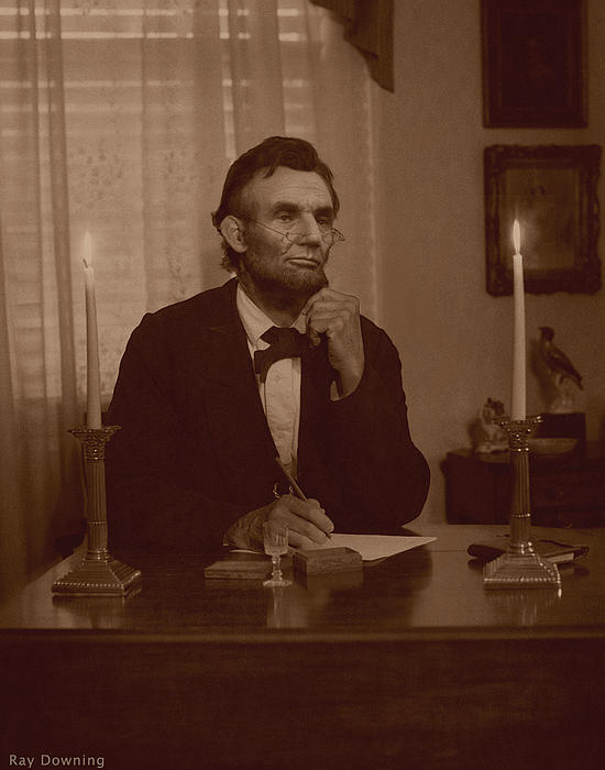 Lincoln At His Desk Print by Ray Downing