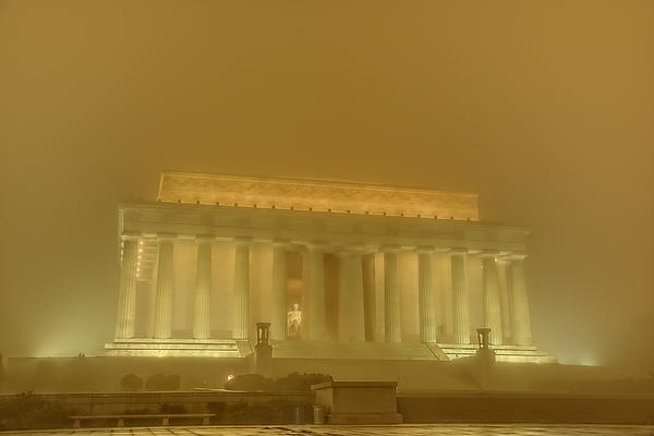 Lincoln Memorial In The Fog Print by Metro DC Photography