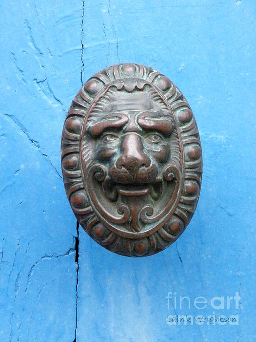 Lion Face Door Knob Print by Lainie Wrightson