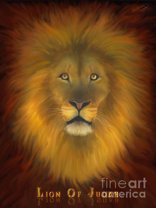 Lion Of Judah Fire In His Eyes 2 Print by Constance Woods