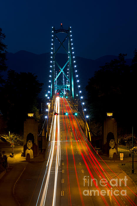 Lions Gate Bridge Traffic Print by Michael Russell