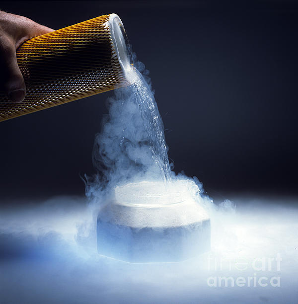 Liquid Nitrogen Being Poured Print by Charles D Winters