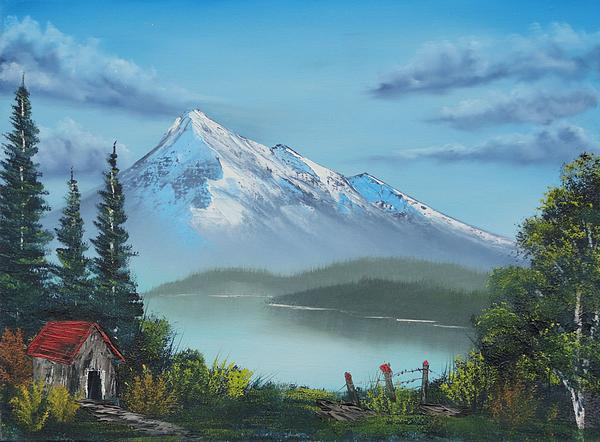 Little Cabin At The Lake Print by Bob Williams