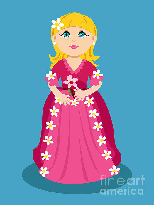 Little Cartoon Princess With Flowers Print by Sylvie Bouchard
