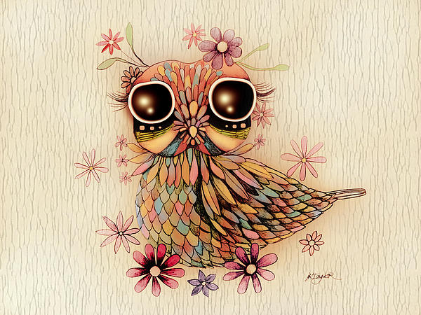 Little Flower Owl Print by Karin Taylor