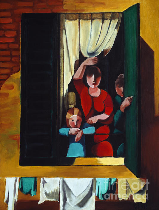 Little Girl At Window Print by William Cain