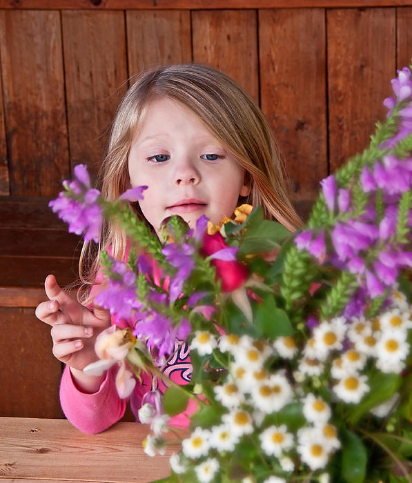 Little girl flower arranging by valerie garner - Valerie garnering ...