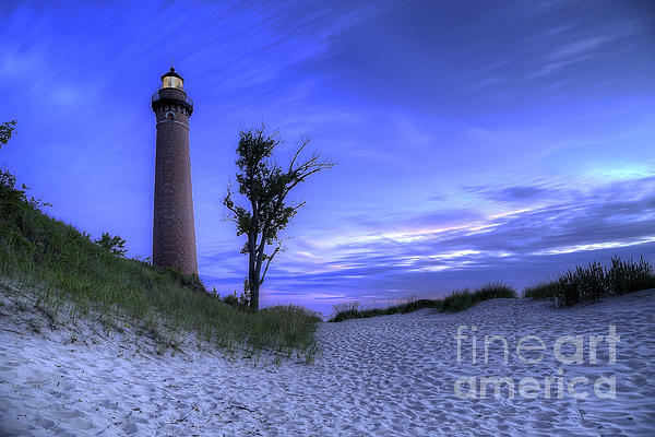 Little Sable Lighthouse In Evening Print by Twenty Two North Photography