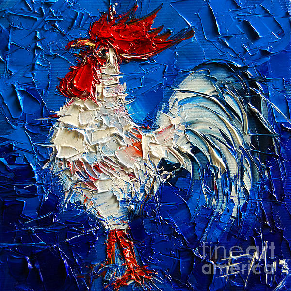 Little White Rooster Print by Mona Edulesco