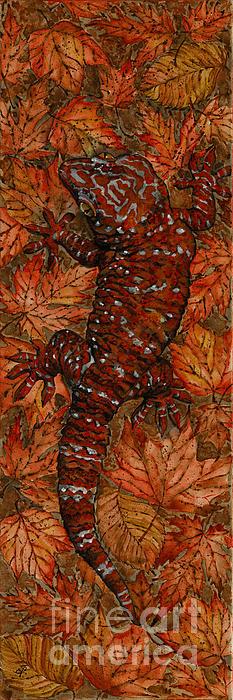 Lizard In Red Nature - Elena Yakubovich Print by Elena Yakubovich
