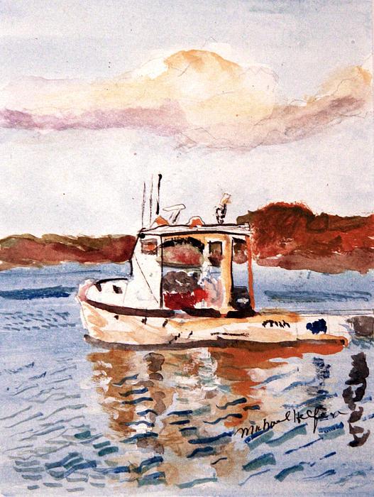 Lobster Boat Print by Michael Helfen