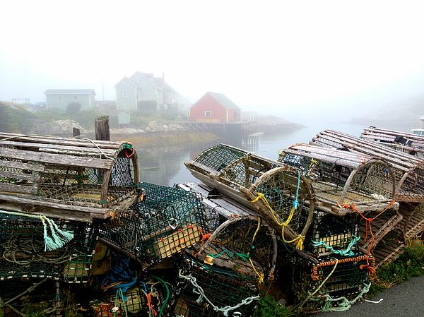 Lobster Traps And Fog Print by Tracy Munson