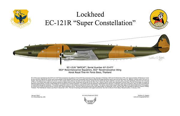 Lockheed Ec-121r 553rs Korat Rtafb Print by Arthur Eggers