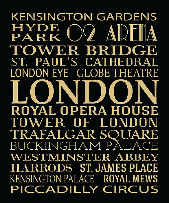 London Attractions Print by Jaime Friedman