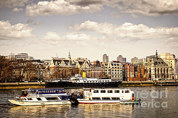 London From Thames River Print by Elena Elisseeva