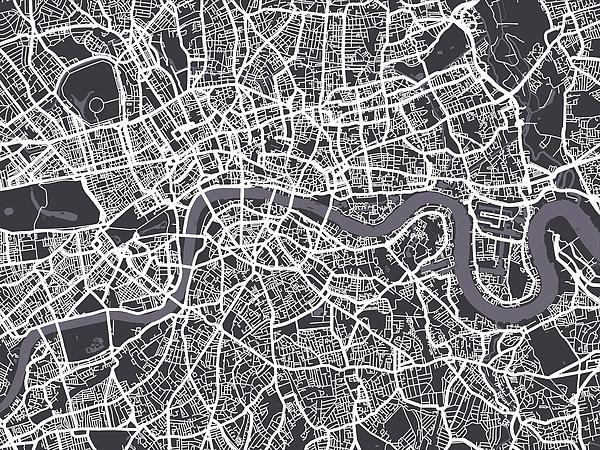 London Map Art Print by Michael Tompsett