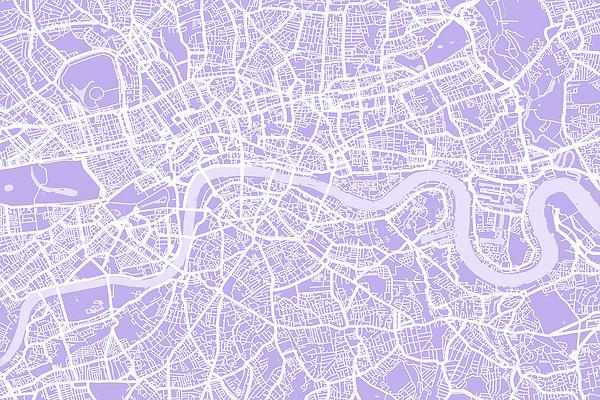 London Map Lilac Print by Michael Tompsett