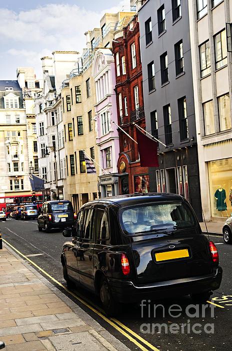 London Taxi On Shopping Street Print by Elena Elisseeva