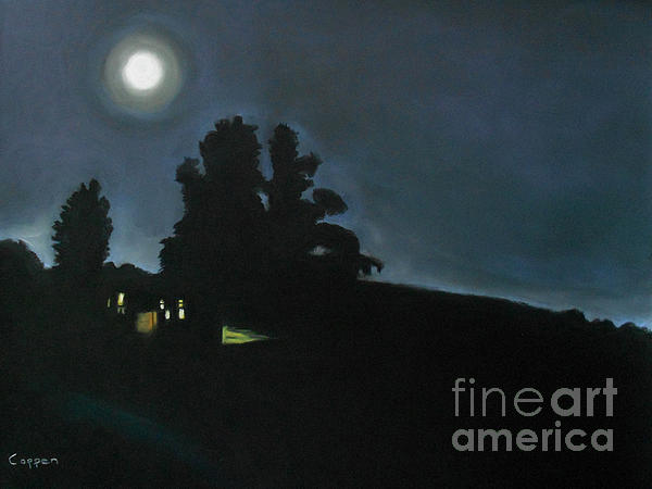 Lonely House And The Moon Print by Robert Coppen