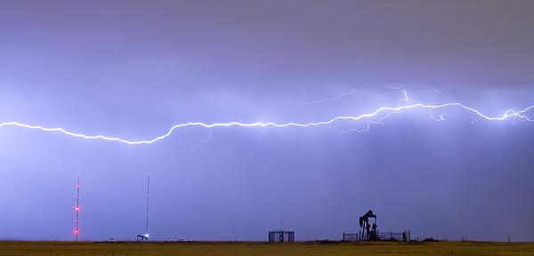 Long Lightning Bolt Strike Across Oil Well Country Sky Print by James BO  Insogna