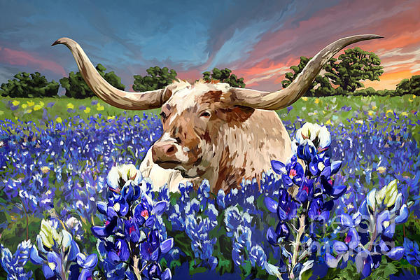 Longhorn In Bluebonnets By Tim Gilliland