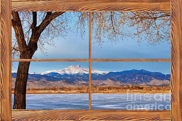 Longs Peak Across The Lake Barn Wood Picture Window Frame View Print by James BO  Insogna