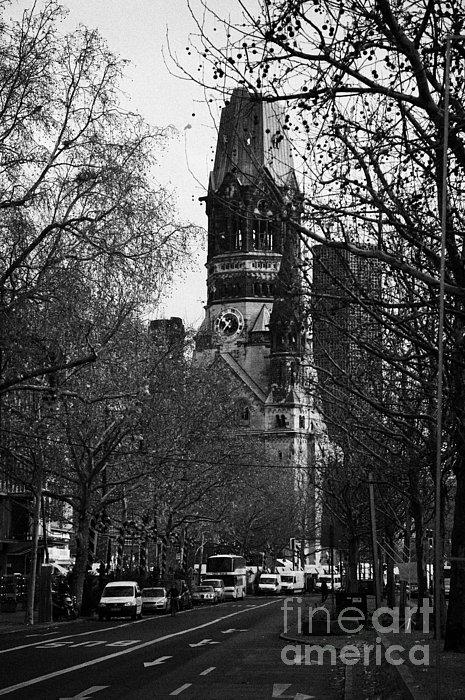 looking down Kurfurstendamm towards Kaiser Wilhelm Gedachtniskirche memorial church Berlin Germany Print by Joe Fox