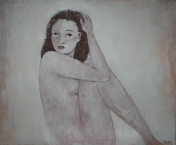 Looking Over Her Shoulder Print by Kathy Peltomaa Lewis