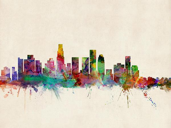 Los Angeles City Skyline Print by Michael Tompsett