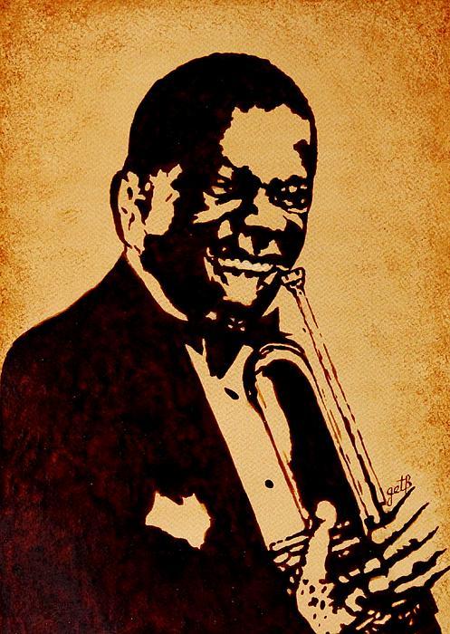 Louis Armstrong Original Coffee Painting Art Print by Georgeta  Blanaru